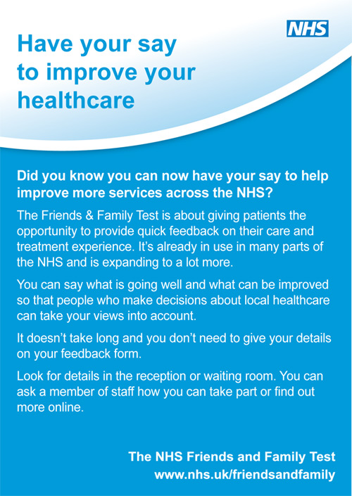 have your say to improve your healthcare